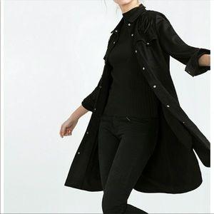 NWT ZARA Long Black Fringe Suede Western Jacket M